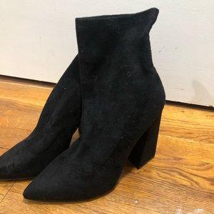 suede sock booties